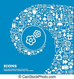 gear icon sign. Nice set of beautiful icons twisted spiral...