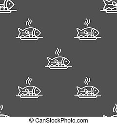 Hot Fish grill icon sign. Seamless pattern on a gray...
