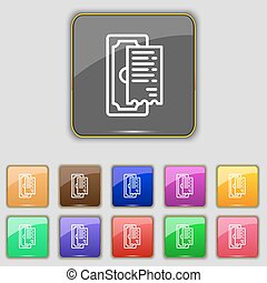 cheque icon sign. Set with eleven colored buttons for your site. Vector
