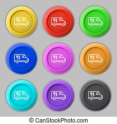Food Truck icon sign. symbol on nine round colourful buttons. Vector