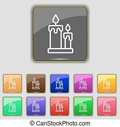 Candle icon sign. Set with eleven colored buttons for your...