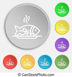 Hot Fish grill icon sign. Symbol on eight flat buttons....