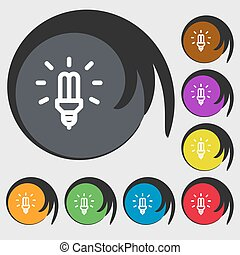 Led Bulb Icon sign. Symbols on eight colored buttons. Vector...