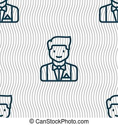 Butler icon sign. Seamless pattern with geometric texture....