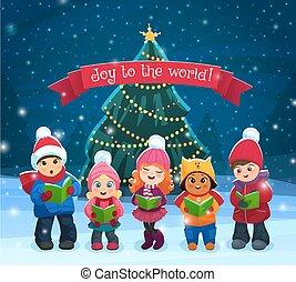 Caroling kids composition - Little kids singing Christmas...