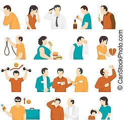 Mental Disorders Depression Flat Icons Collection - Clinical...