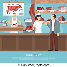 Butcher Meat Shop Flat Poster - Butcher shop with retro...