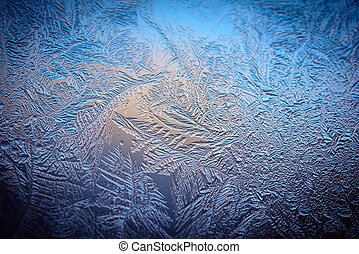 Hoarfrost on window - Cracked texture of ice on window in...