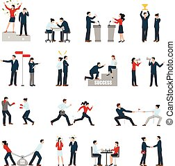 Business Confrontation People Flat Icons Set - Constructive...