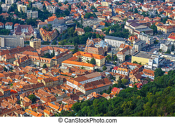 Aerial view of the Old Town, Brasov, Transylvania, Romania