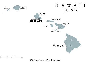 Hawaii political map with capital Honolulu. State of the...