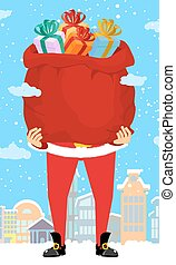Santa Claus and bag of gifts in city. Christmas in town....