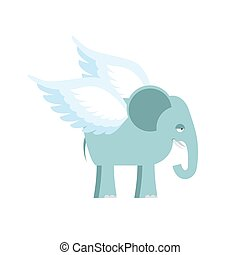 Elephant with wings. Fantastic animal. Flying Elephant...