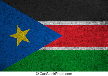 South Sudan flag on an old grunge background