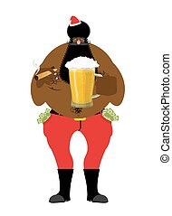 Bad Black Santa with beer and cigar. African American Santa Claus. money in pocket. drink away earnings. Christmas bully. New Year celebration
