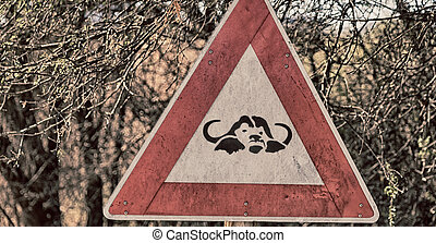 in south africa close up of the buffalo sign - blur in south...