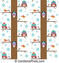 Winter tree with birds vector pattern