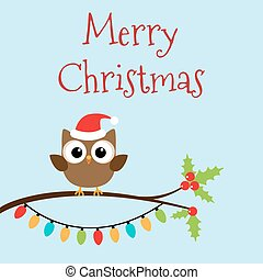Christmas owlet on branch - Owlet in Christmas hat on...