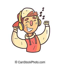Dancing Boy In Cap And College Jacket Hand Drawn Emoji Cool Outlined Portrait