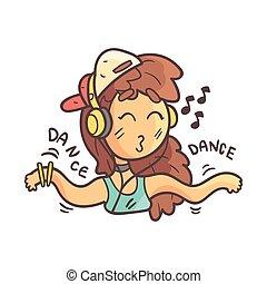 Dancing Girl In Cap, Choker And Blue Top Hand Drawn Emoji...