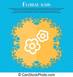gear icon sign. Floral flat design on a blue abstract background with place for your text. Vector