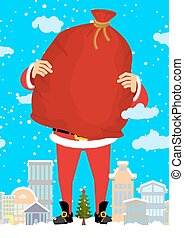 Santa Claus in city carry bag of gifts. Christmas in town....