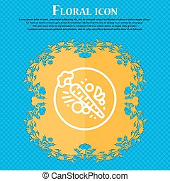 Carott icon sign. Floral flat design on a blue abstract background with place for your text. Vector