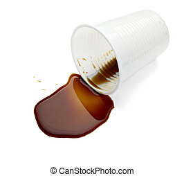 plastic cup of coffee drink beverage food office spilled...