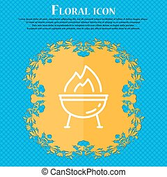 Grill icon sign. Floral flat design on a blue abstract background with place for your text. Vector