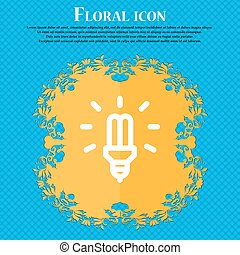 Led Bulb Icon sign. Floral flat design on a blue abstract...