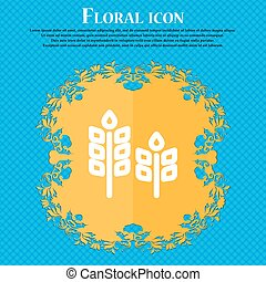 Eco with green leaf icon sign. Floral flat design on a blue abstract background with place for your text. Vector