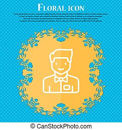 Waiter icon sign. Floral flat design on a blue abstract...
