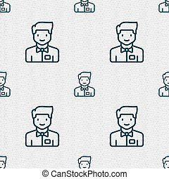 Waiter icon sign. Seamless pattern with geometric texture....