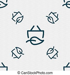 Shopping bag icon. sign. Seamless pattern with geometric...