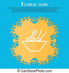 Pastas icon sign. Floral flat design on a blue abstract background with place for your text. Vector