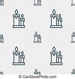 Candle icon sign. Seamless pattern with geometric texture....