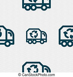 Recycle icon sign. Seamless pattern with geometric texture....