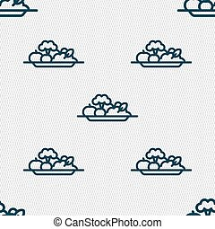 vegetables icon sign. Seamless pattern with geometric texture. Vector