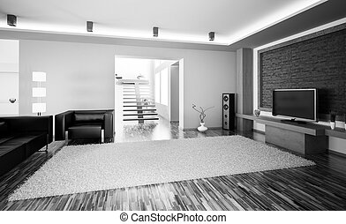 Living room with lcd interior 3d render - Black white living...