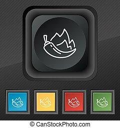 chilli pepper icon symbol. Set of five colorful, stylish...