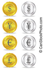 Bank notes.  Fold - Bank notes. Gold and silver coin. Vector