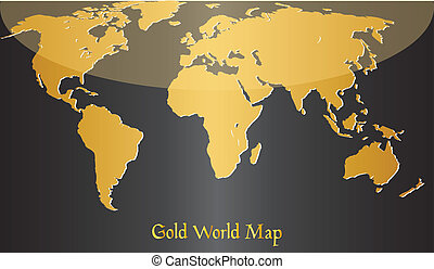 Gold map of world.