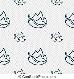 chilli pepper icon sign. Seamless pattern with geometric...