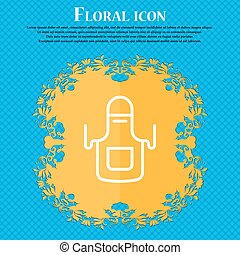 Kitchen apron icon sign. Floral flat design on a blue...