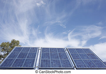 A stock photograph of solar?panels