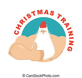 Christmas Training. Strong Santa thumbs up. Holiday fitness....
