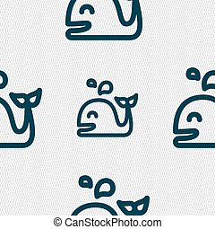 Whale icon sign. Seamless pattern with geometric texture....