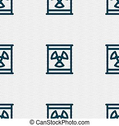 Radiation icon sign. Seamless pattern with geometric...