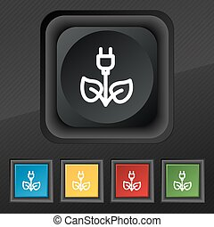 green energy electricity icon symbol. Set of five colorful, stylish buttons on black texture for your design. Vector