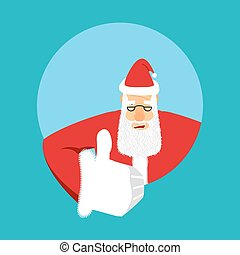 Santa Claus thumbs up. Gesture of hand is all right. Success...